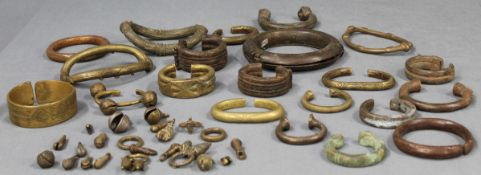 Collection hoops, bracelets, metal, brass also bronze?