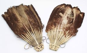 2 Fans. Probably feathers and ivory. 19th century.