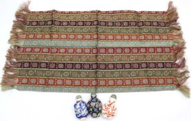 4 snuff bottles. Up to 71 mm high. And textile silk 48 cm x 28 cm Tatsumura.