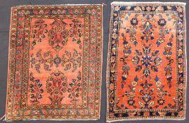 Mohajaran Saruk and Farahan. 2 Poschti Persian rugs. Iran, about 90 - 120 years old.
