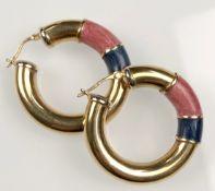 Creole earrings yellow gold 750. With enamel.