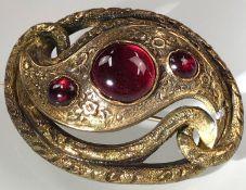 Art Nouveau brooch gold 14 carat, tested. 3 gemstones.