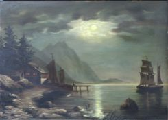 UNSIGNED (XIX). Nocturno. Fjord, mountain lake with sailing boats.