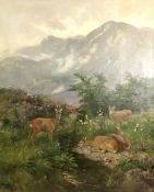 Josef SCHMITZBERGER (1851 - c.1936). Roebuck with three doe in the Alps.