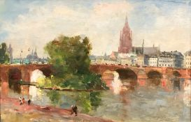 Karl DÖRRBECKER (1894 - 1983). Frankfurt. The old bridge 1937.