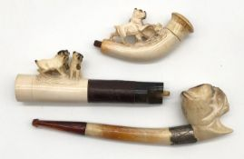 3 meerschaum pipes with pug. One with a case. Probably 120 - 180 years old