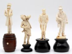 4 figures. Ivory around 1900. Probably Erbach.