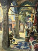 Tony BINDER (1868 - 1944). Carpet dealers in the bazaar.