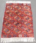 Tekke main carpet fragment. Turkmenistan. Antique.