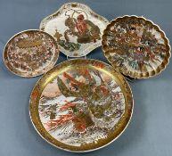 4 Platten Satsuma Porzellan. Wohl Japan alt, antik.