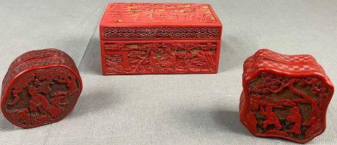 3 Schachteln. Wohl Rotlack China antik.