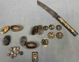 """Wohl Bronze, teilvergoldet, Japan antik. """"Samurai Ausstattung"""""""