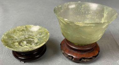 2 Jade? Schalen. Koppchen. Wohl Japan antik.