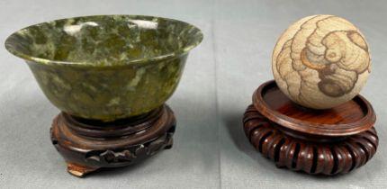 Gelehrtenstein und Koppchen Jade? Wohl China antik.
