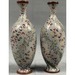 2 Filigrane Cloisonné Vasen. Grau Grundig mit Vögeln.