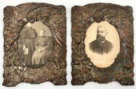2 Bilderrahmen. Kupfer getrieben wohl versilbert. Wohl China um 1900.