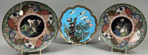 3 Platten Cloisonné. Wohl Japan, China alt.