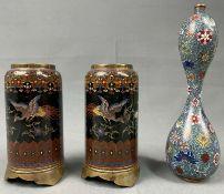 3 Gefäße Cloisonné. Wohl Japan , China antik.