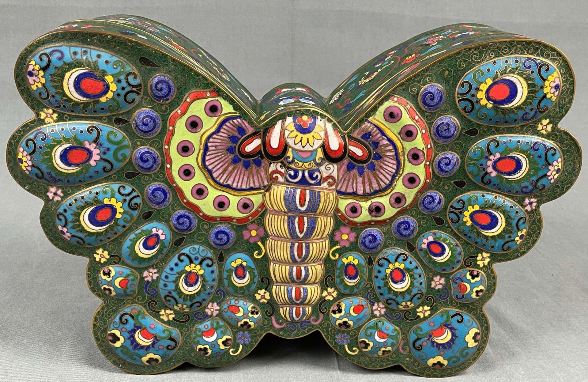 Cloisonné Papillon Schatulle mit Deckel. - Image 2 of 12