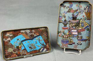 2 Cloisonné Tabletts. Wohl Japan, China antik.