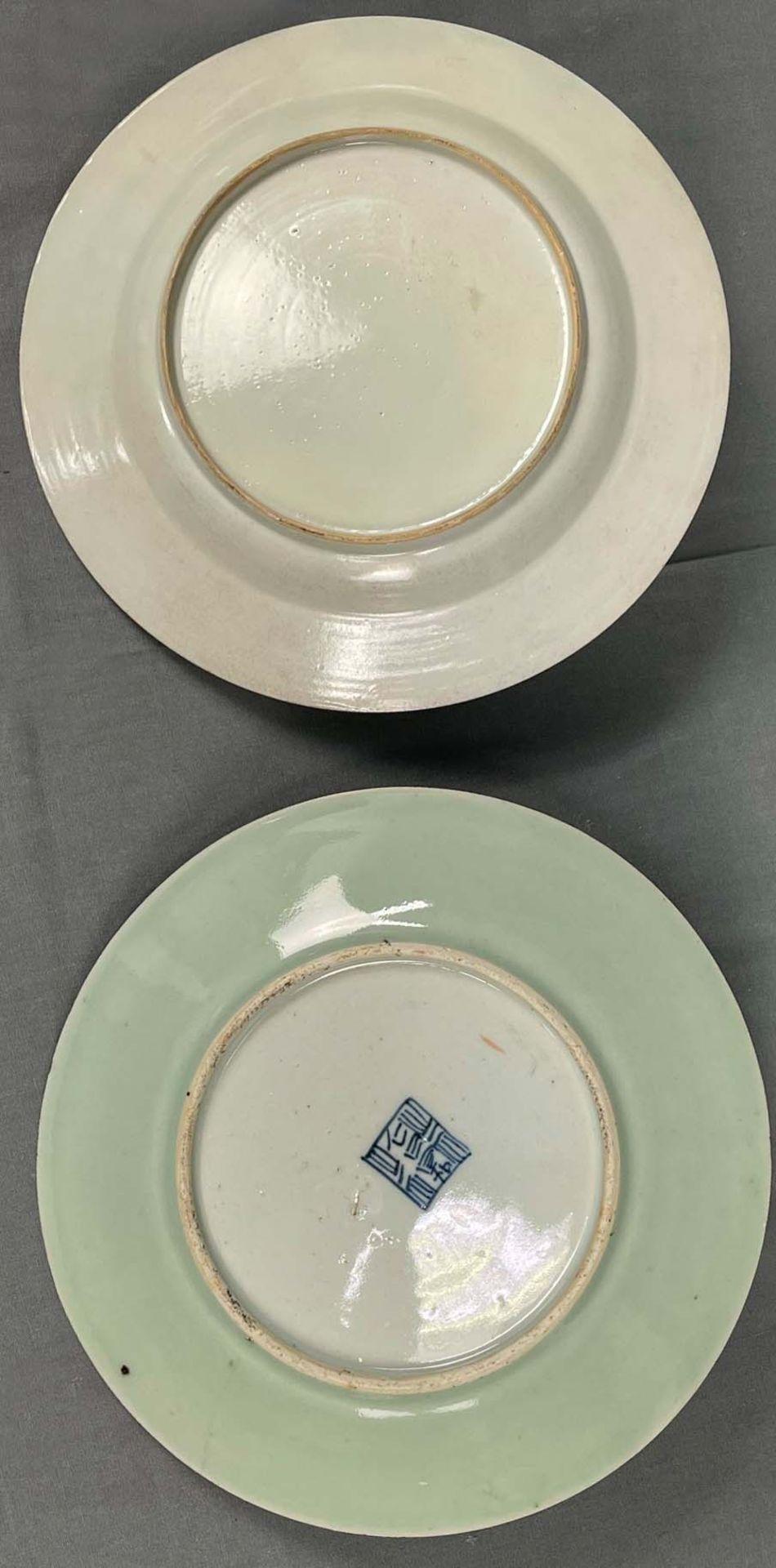 2 Platten. Porzellan. Wohl China antik. - Image 2 of 16