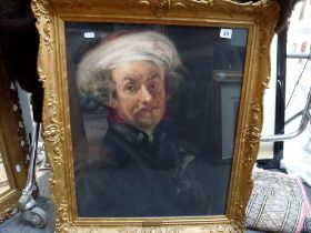 R.G. Coslett, pastel and charcoal, of a man in a turban with a sword, after Rubens, signed and dated