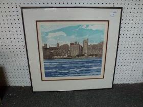 Two framed modern prints including John Brunsden, artist proof coloured print of Lambeth Palace from