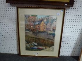 Leo Gibbons Smith, watercolour of a harbour scene, Fife, signed with device; a watercolour by John