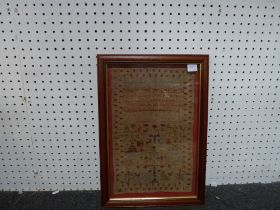 An antique sampler, a Chinese silk embroidered panel and a John Canning watercolour Fox in a snowy
