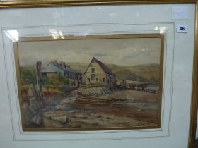 Six various watercolours comprising landscapes, including an Alpine scene, a beach scene by