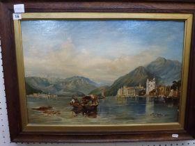 A 19th century Italian school oils on canvas, fishermen on an Alpine lake (40x 60 cm), and a late