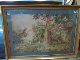 Arthur White, 19th century, watercolour, figures on a woodland path, signed (49 x 74 cm), framed. WE