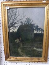 W. H. Bond, an oils on canvas, the moonlit path, signed (46 x 33 cm) in a gilt frame. WE DO NOT TAKE