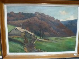 Paul Lepage, an oils on canvas of an undershot water mill in a rural setting, signed and dated