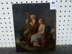 An early 19th century school narrative, oils on metal laid to panel, an elderly harpist and a