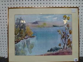 A small mixed lot comprising a Continental school watercolour of a lake scene, a coloured print
