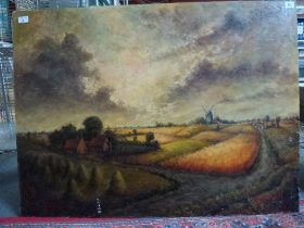 Arthur Deltour, oils on board, a windmill in a landscape, signed and dated '73 (with biographical