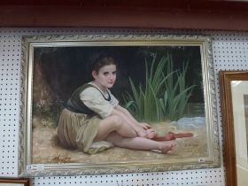 F. Rougier, oils on canvas, a girl drying her feet by a brook, signed (59 x 89 cm) framed. WE DO NOT