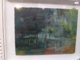 Heather Libson, oils, untitled abstract in blues and greens (28 x 38 cm), the reverse inscribed '