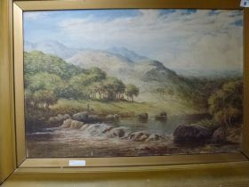 H. Bryan, oils on canvas, figures by a river in a landscape, signed (50 x 76 cm), gilt frame. WE