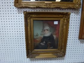 A 19th century Provincial school pastel portrait of a seated woman with an elaborate lace and