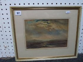 Three various framed watercolours and pastels including sunrise over the sea, a working Asian