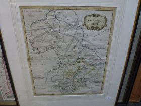 An antique engraved and hand-coloured map of 'Cambridge shire', probably by Robert Morden,