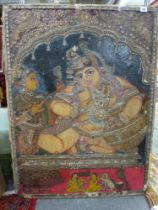 A rare antique painted cotton mounted on a panel of an Indian infant princess; the paint is highly