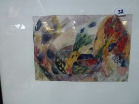 K Roder, watercolour abstract, signed, and a grisaille watercolour stylised portrait by Emma