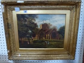 Attributed to David Cox, an oils on canvas of children playing outside Harborne Church, signed (30 x