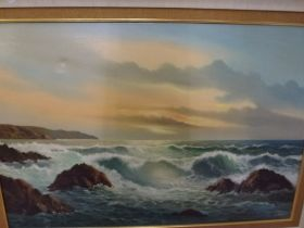 J. Stewart, oils on canvas, waves breaking on rocks, signed, and S. Marla, oils on canvas, figure on