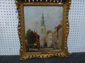 A. de Groote, oils on panel, a busy street scene with market stalls, figures, and children at