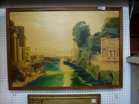 J. May, oils on board, Romantic neoclassical harbour scene and another, also on board, of a