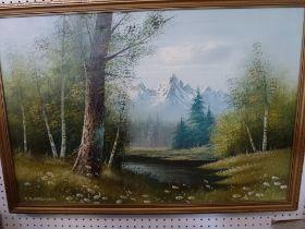 A framed coloured abstract indistinctly signed Reg Barderid (?); J.B. Schumann, oils on canvas, an